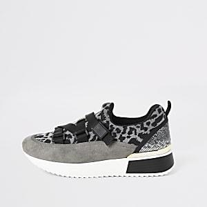 Baskets de course à imprimé léopard grises