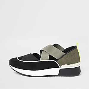 Black cut out runner trainers