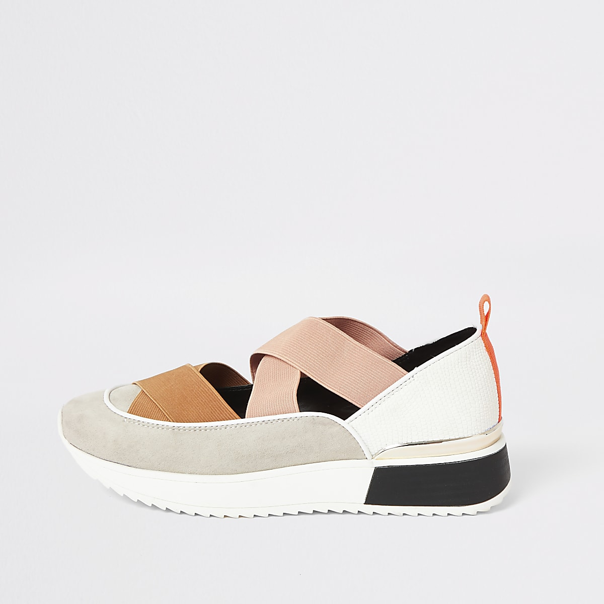 Beige cut out runner trainers