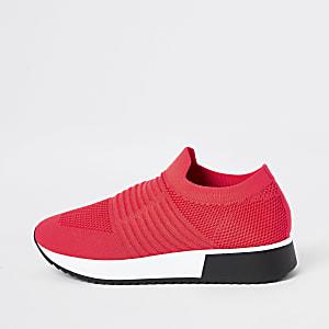 Neonkoraalrode gebreide sneakers