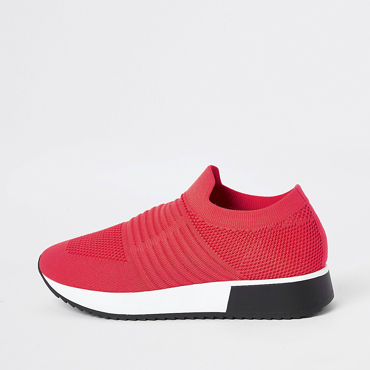 Neon coral knitted runner sneakers