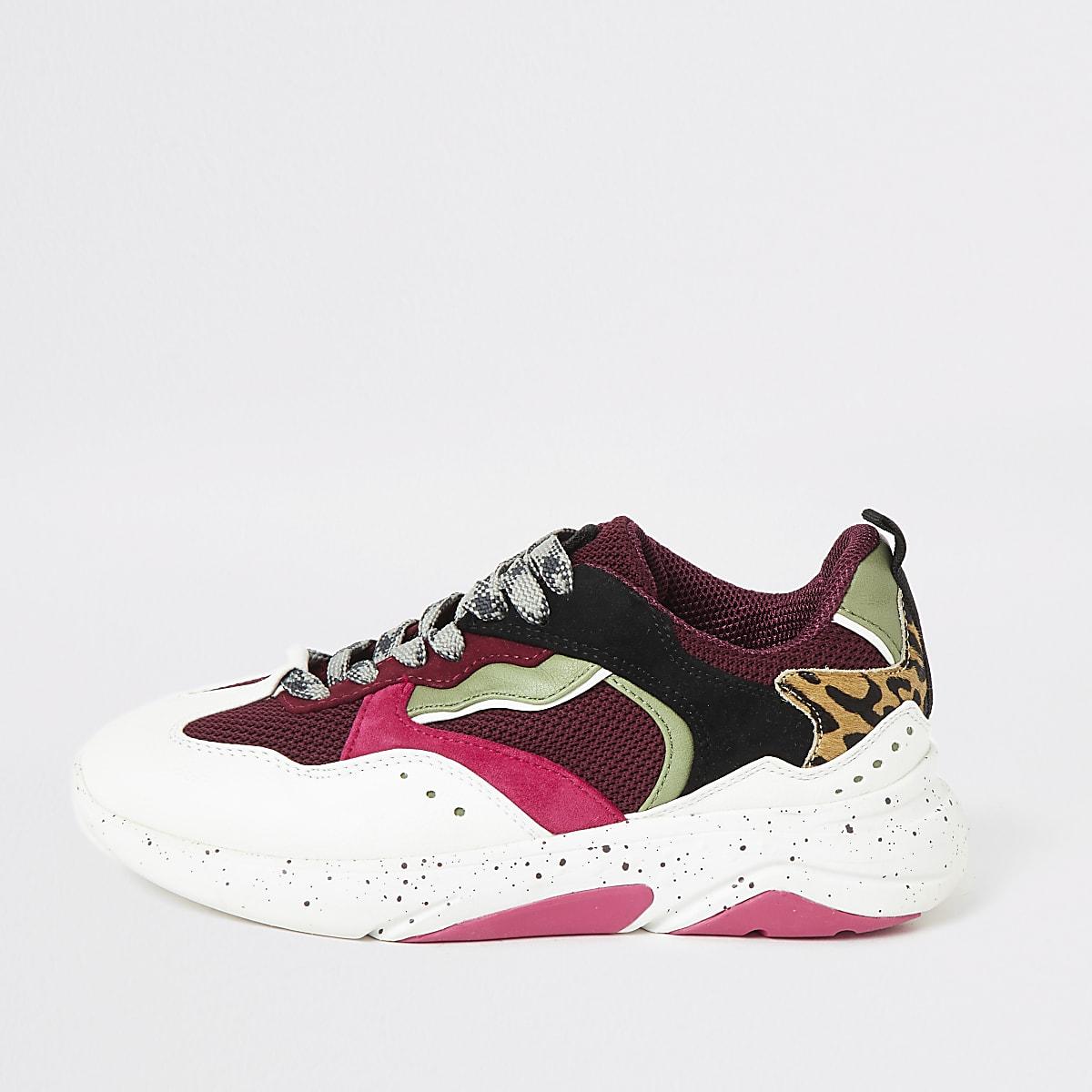Bordeauxrode stevige vetersneakers