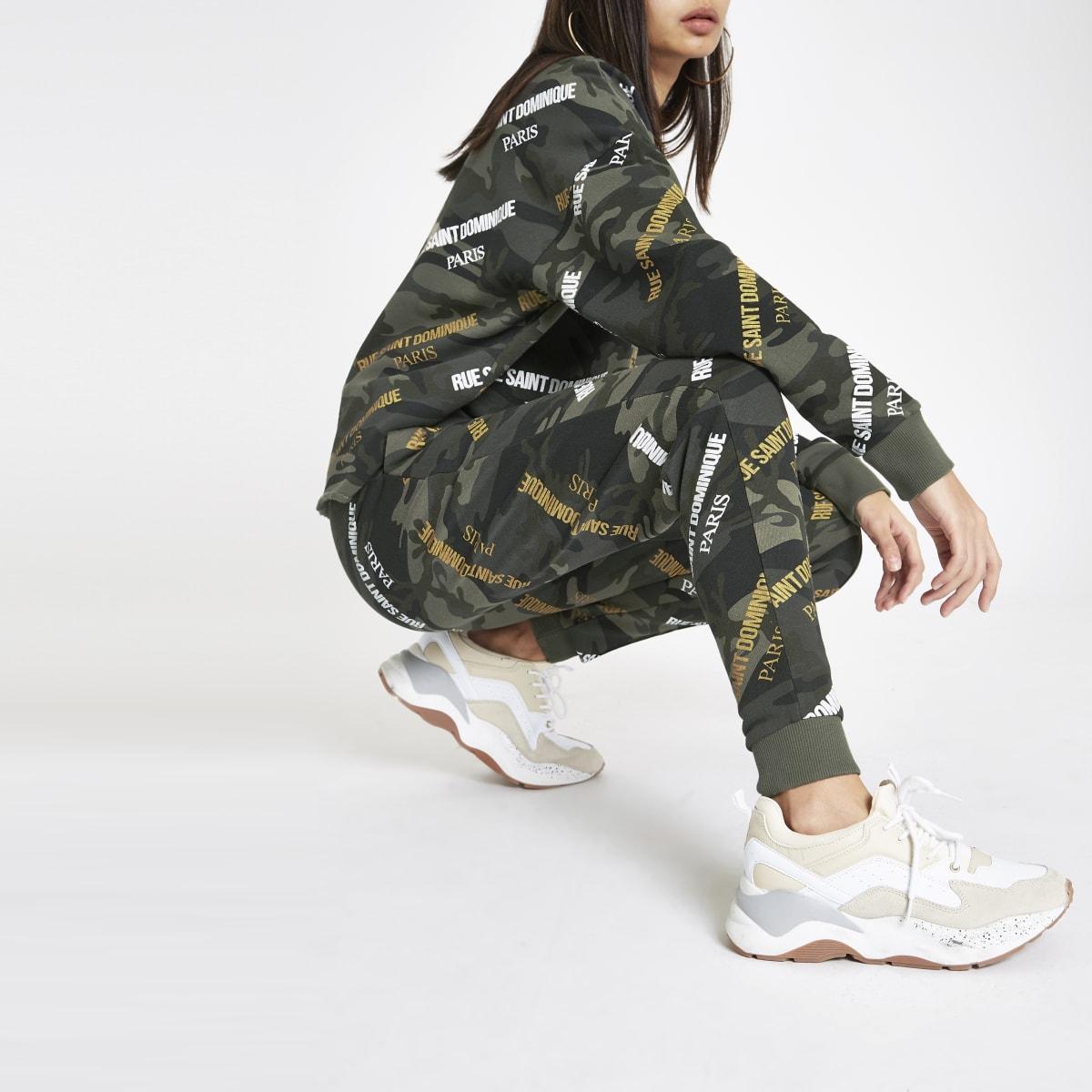 Khaki camo 'Rue Dominique' print joggers
