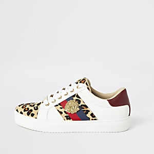 White leopard print lace-up sneakers