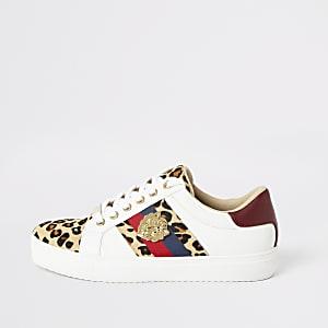 Witte vetersneakers met luipaardprint