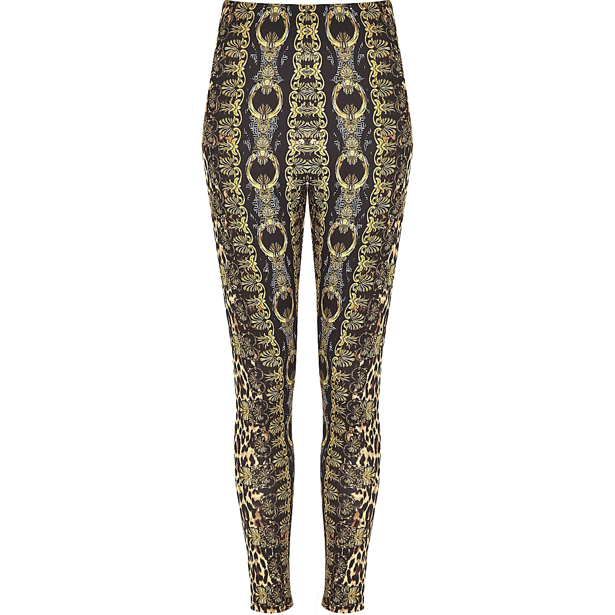 0deb8bee528378 Braune Leggings mit Leoparden-Print - Leggings - Hosen - Damen