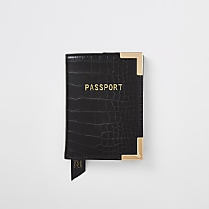 Porte-passeport grain croco noir