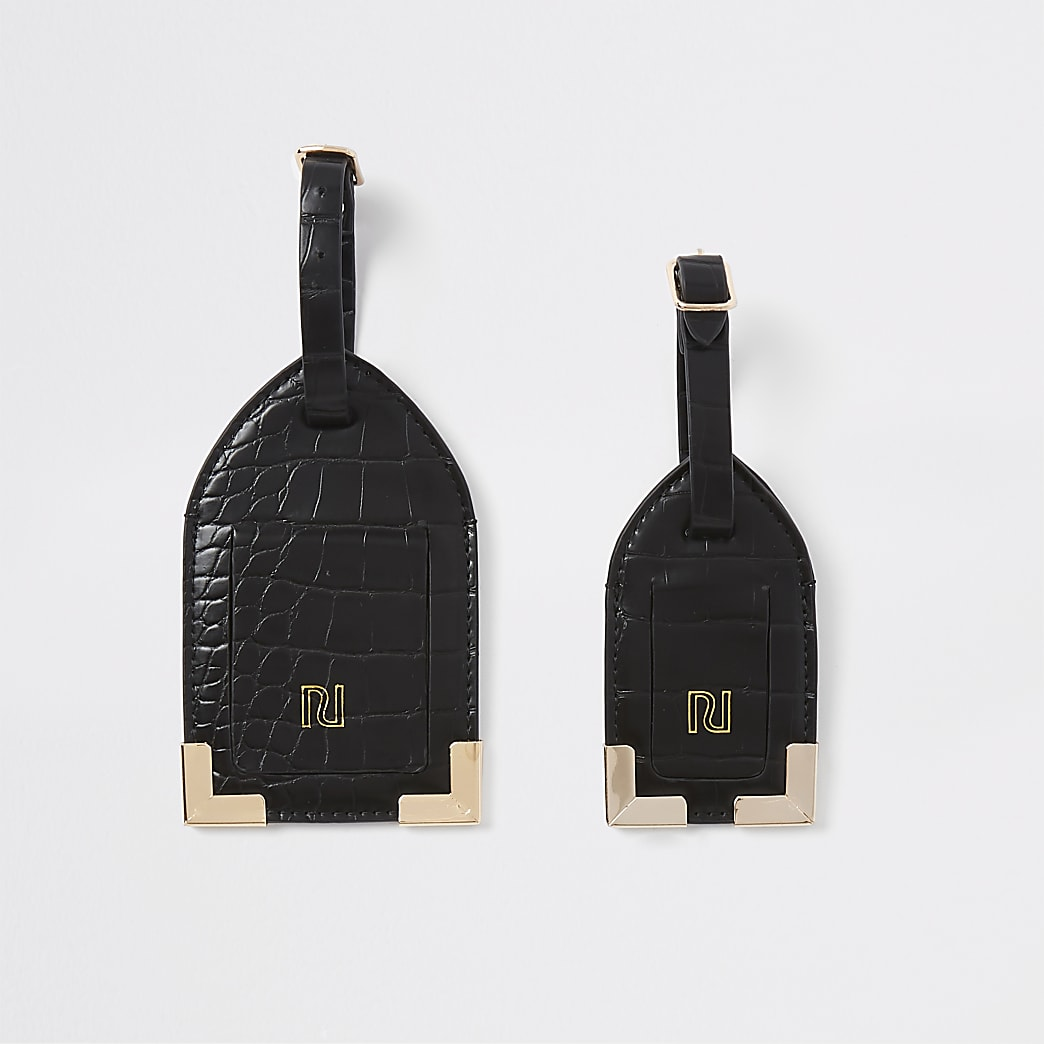 Black croc embossed luggage tag set