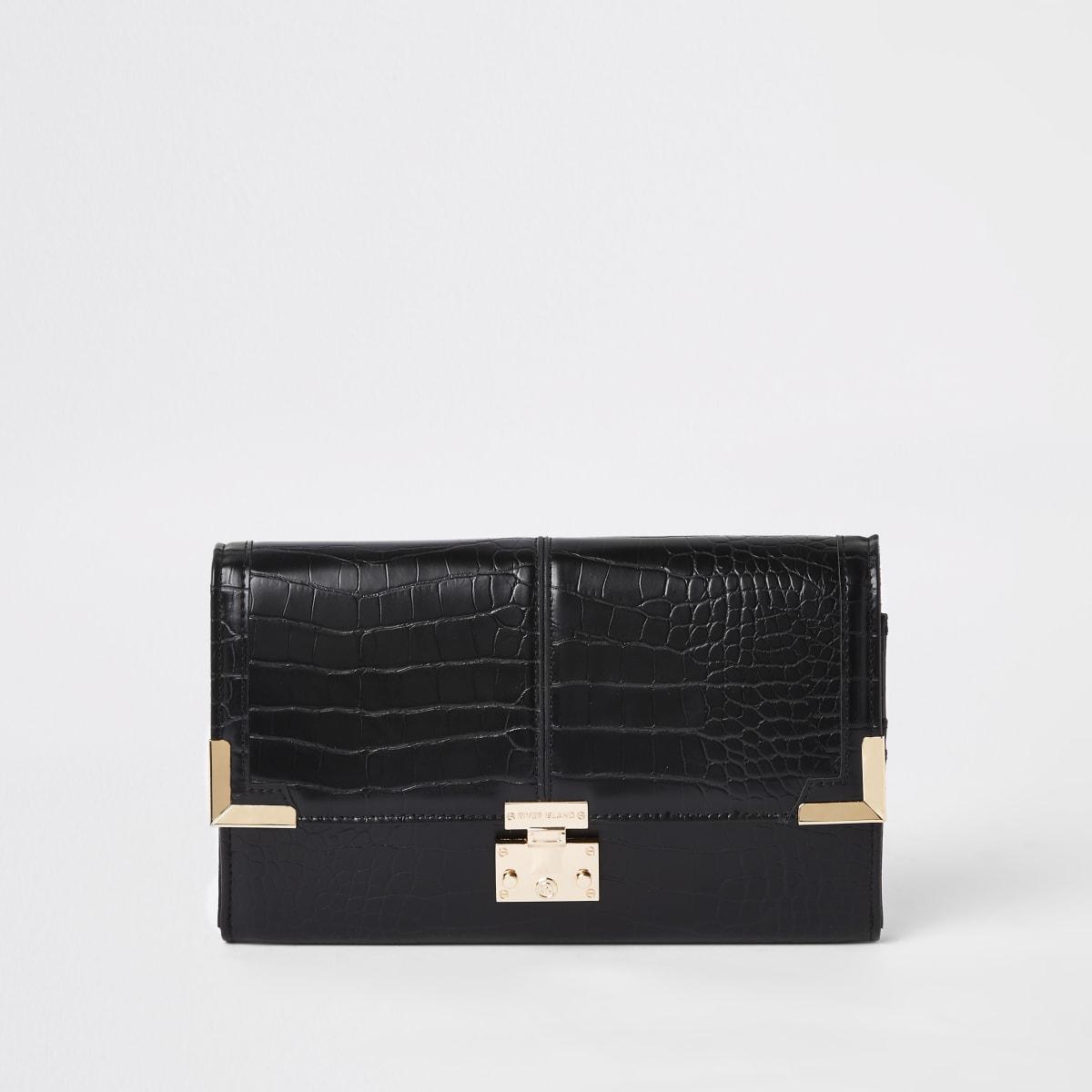 Zwarte reisportemonnee met krokodillenprint in reliëf