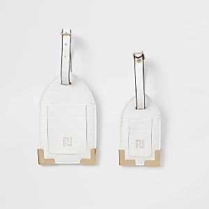 Ensemble d'étiquettes à bagage grain croco blanches