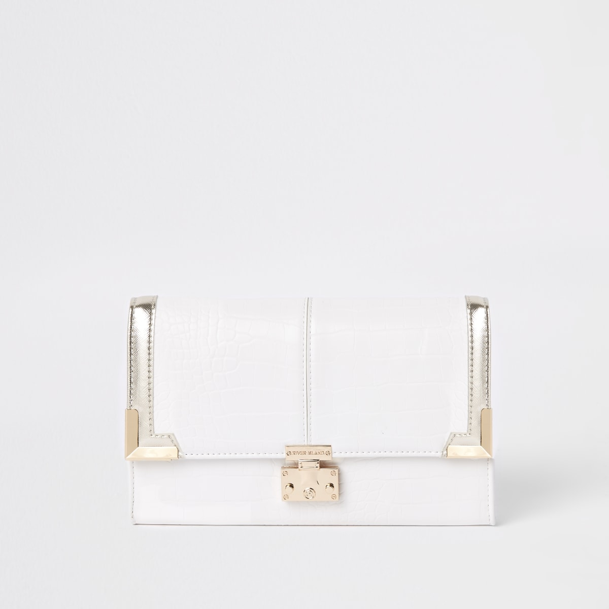 White croc embossed travel wallet