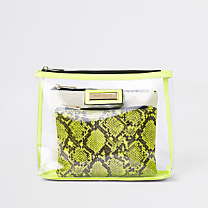 Neon yellow perspex makeup pouch
