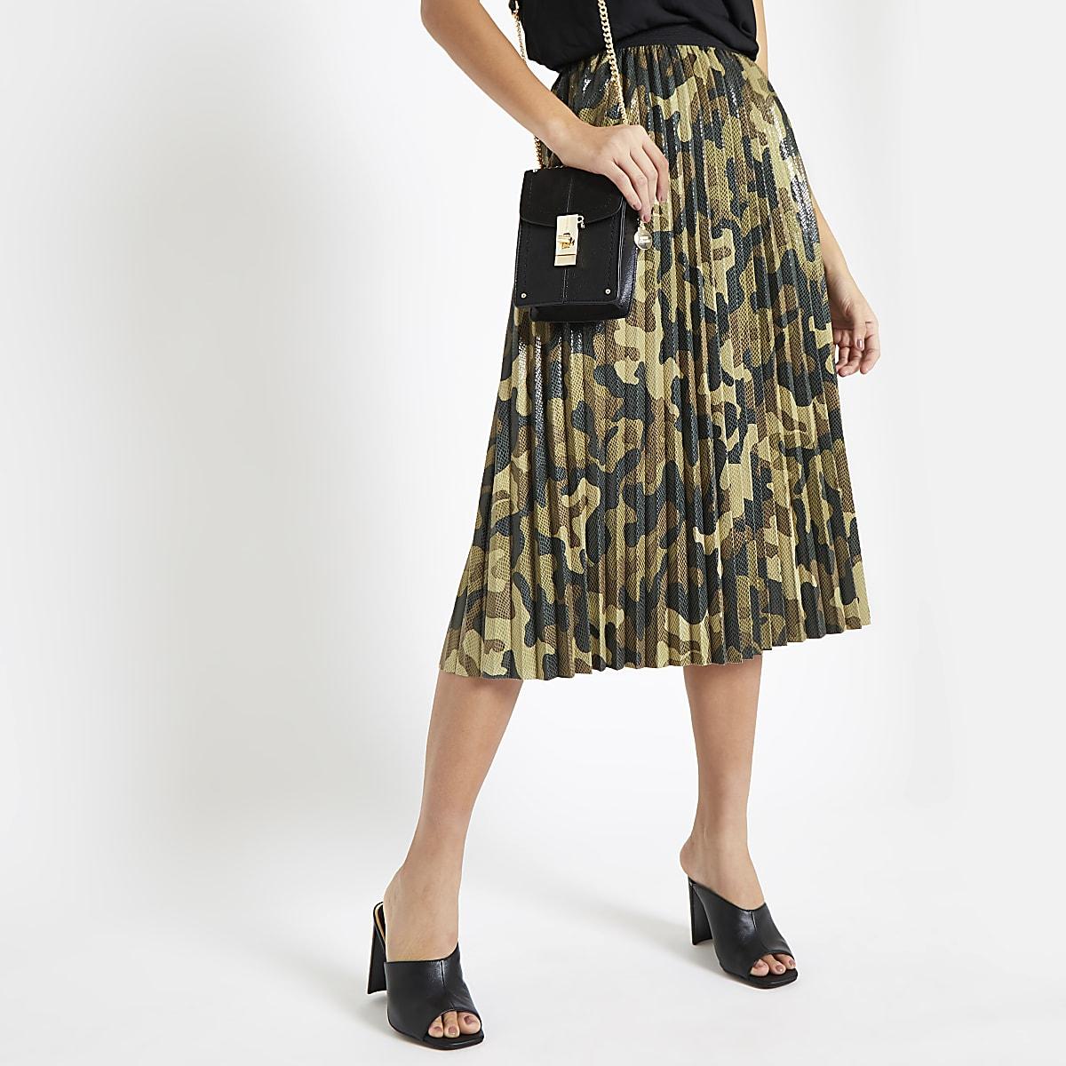 9b49fff962677a Khaki camo print pleated skirt - Midi Skirts - Skirts - women