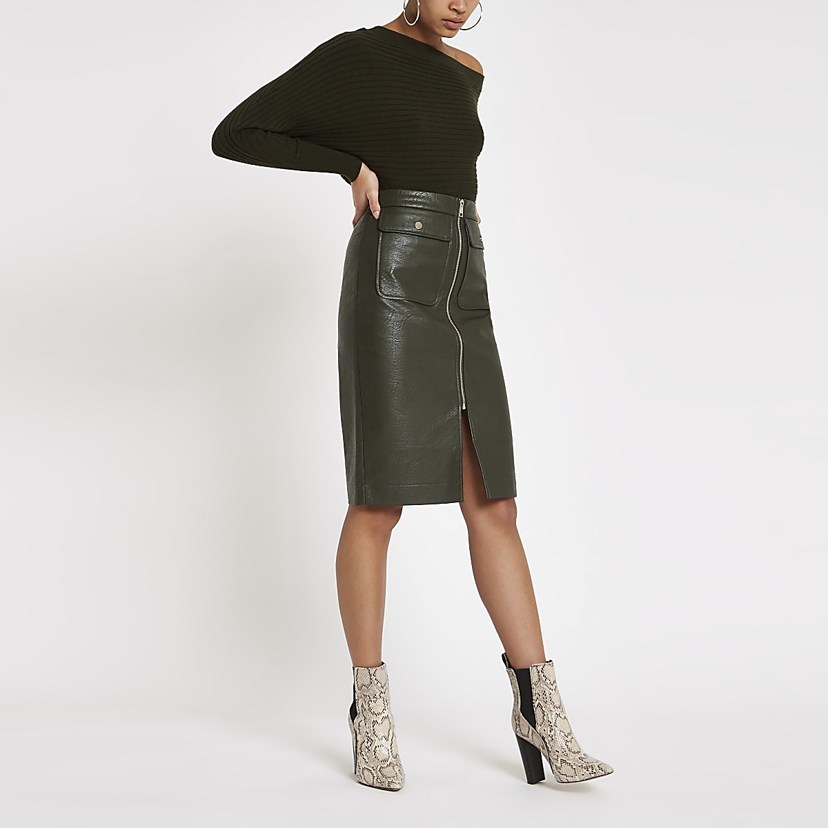 Khaki faux leather zip front midi skirt
