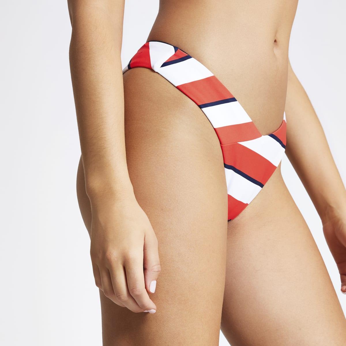 Red stripe V front high leg bikini bottoms