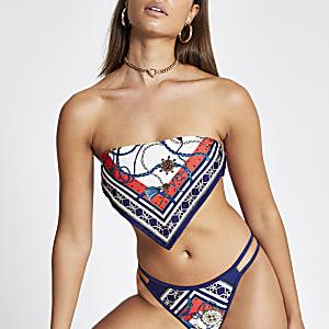 Blauwe bandeau bikinitop met sjaalprint