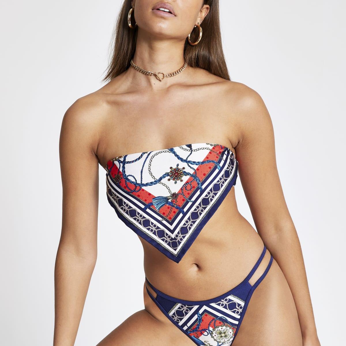 Blue scarf print bandeau bikini top
