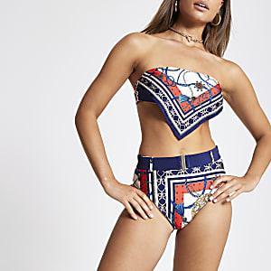 Blauw hoog opgesneden bikinibroekje met sjaalprint