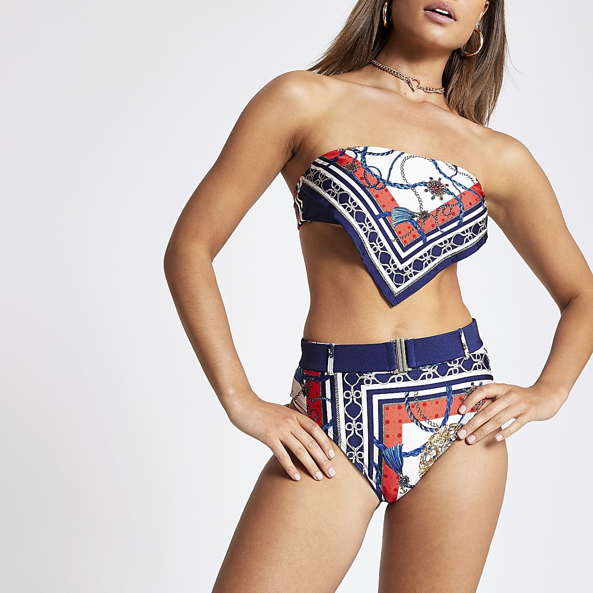 Blue scarf print high leg bikini bottoms