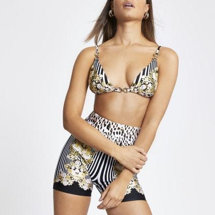 Black print triangle bikini top
