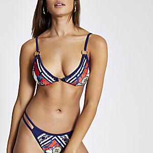 Haut de bikini triangle imprimé bleu marine avec anneau sur le devant