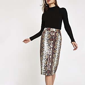 Brown faux leather snake print pencil skirt