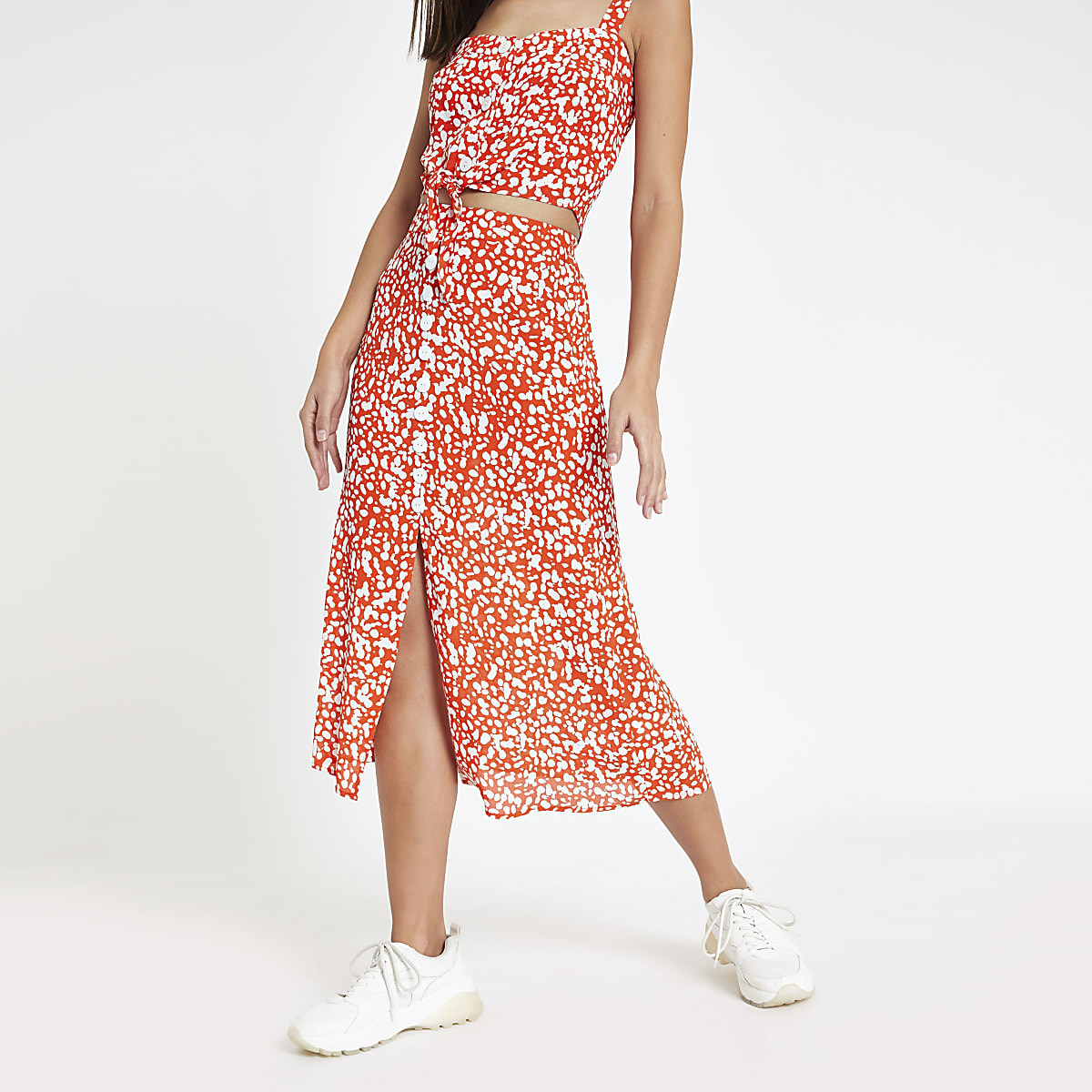 Red printed button front midi skirt