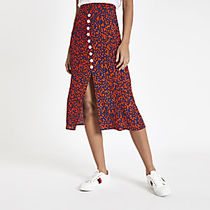 Navy printed button front midi skirt