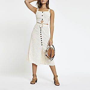 Cream spot print button front midi skirt
