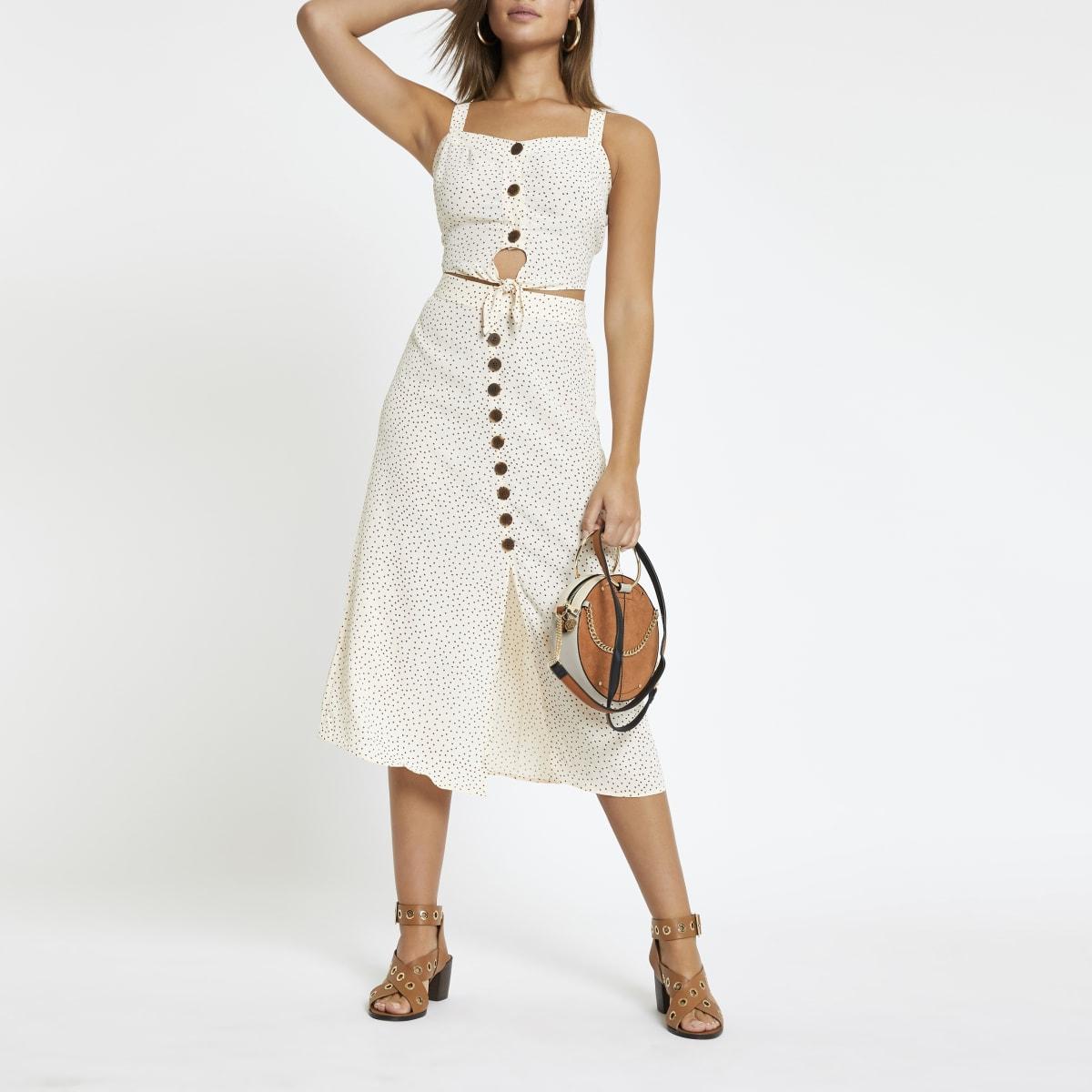 Cream spot print button front midi skirt