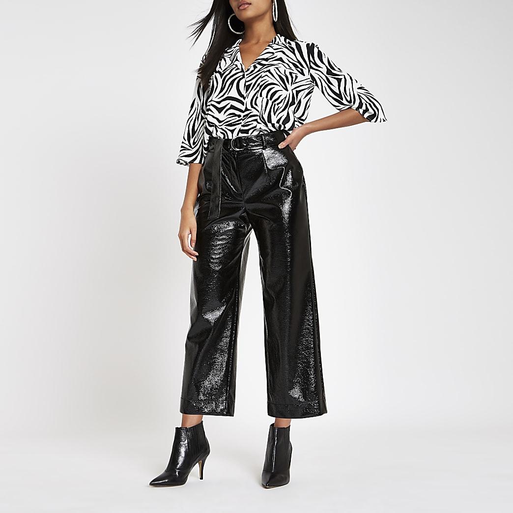 White zebra print crop blouse