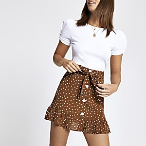 Brown spot print tie waist mini skirt