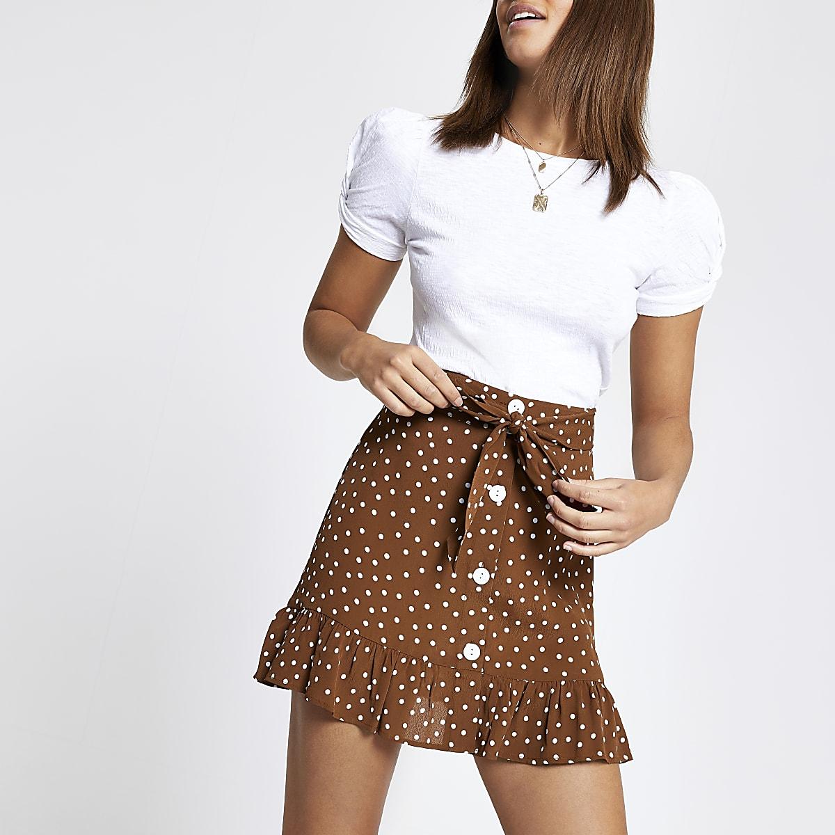 Brown spot print tie waist mini skirt