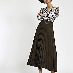 Jupe portefeuille mi-longue plissée marron