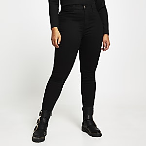 Plus – Kaia – Schwarze Disco-Jeans mit hohem Bund