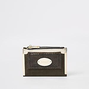 Mini porte-monnaie kaki à rabat et poche sur le devant