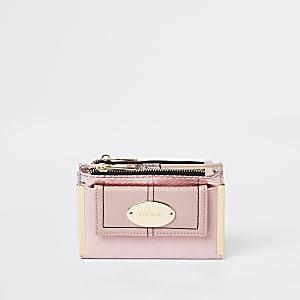 Mini porte-monnaie rose à rabat et poche sur le devant