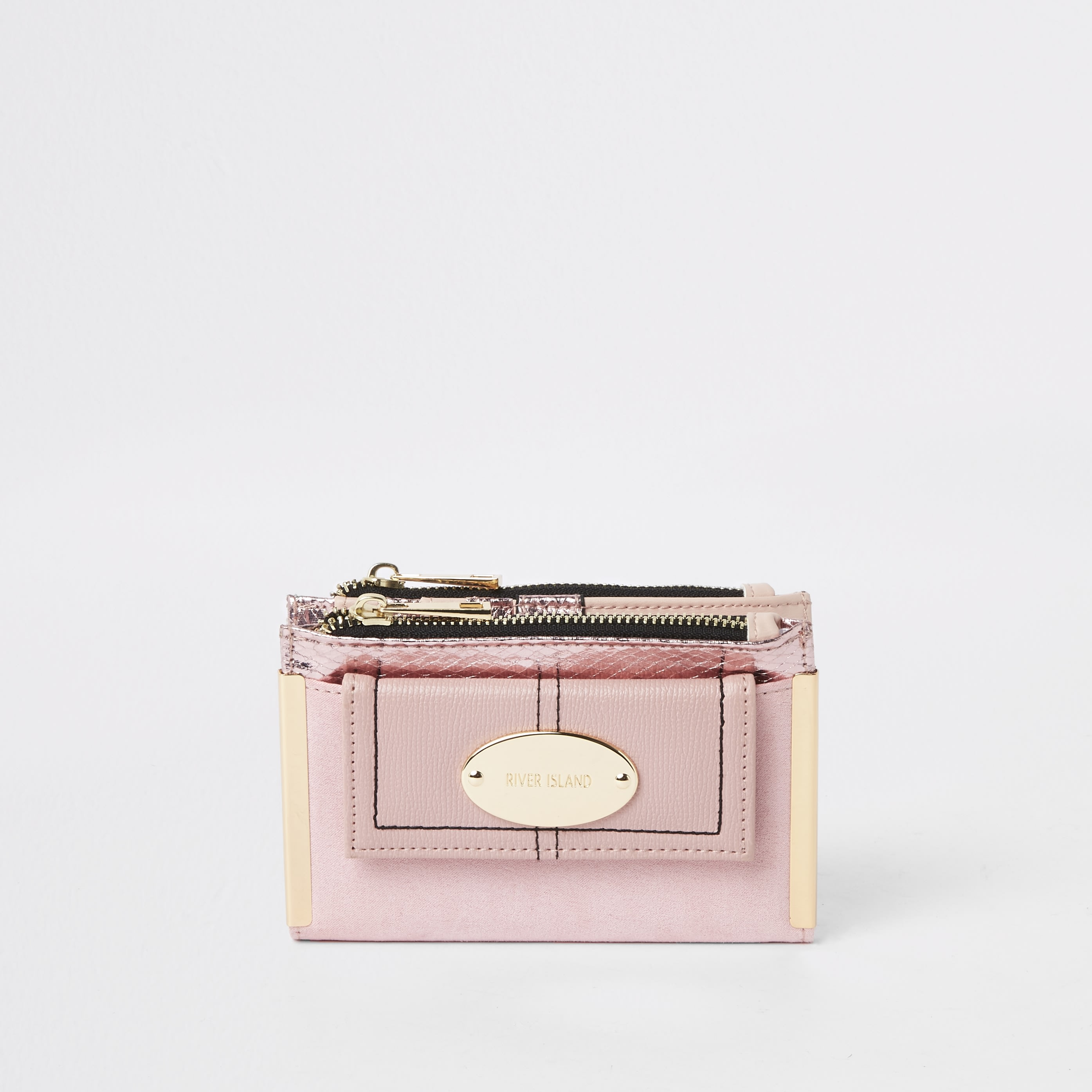 RIVER ISLAND | Womens Pink front pocket mini foldout purse | Goxip