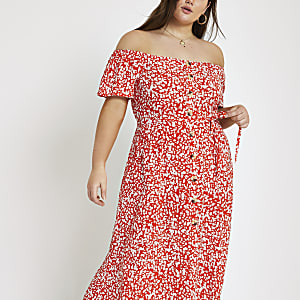 Plus red print bardot maxi dress