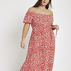 Plus – Rotes Bardot-Maxikleid mit Print