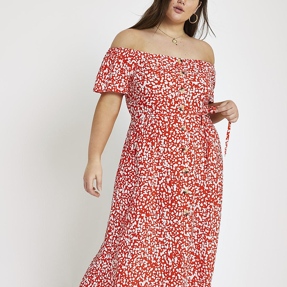 Plus red print bardot maxi dress