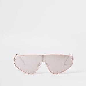 Lunettes de soleil masque rose argentées