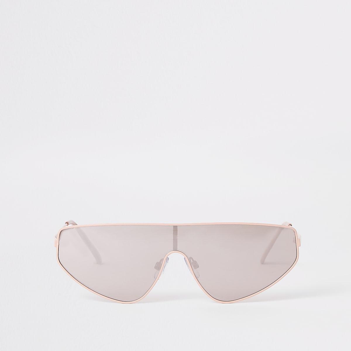 Zilverkleurige met roze visor zonnebril