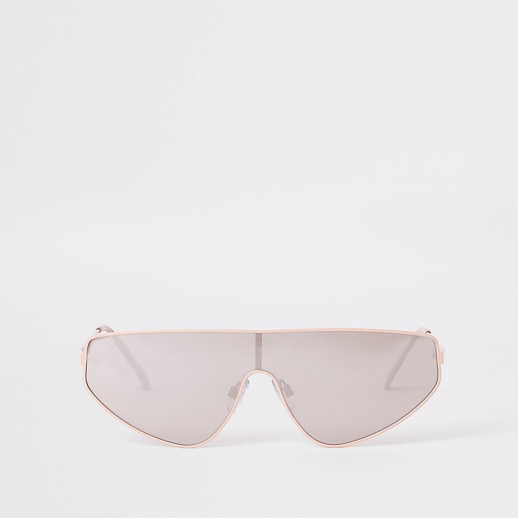 Silver tone pink visor sunglasses