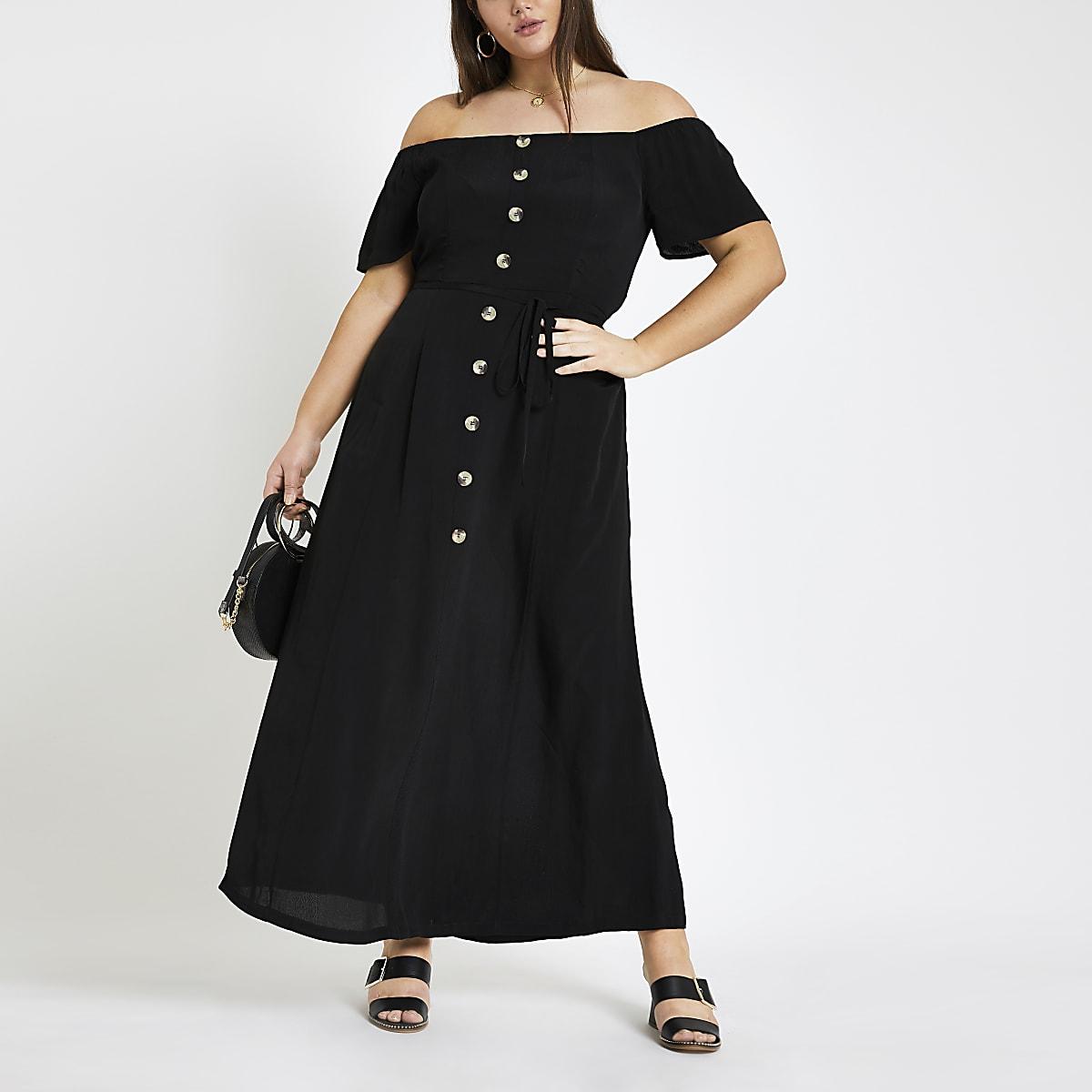 Plus black bardot button front maxi dress