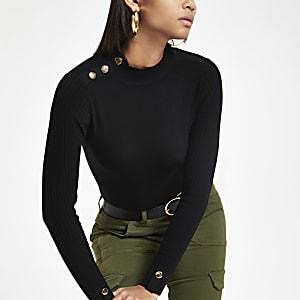 Zwarte top met knoopdetail en col