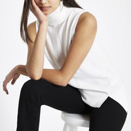 White sleeveless high neck rib knitted top