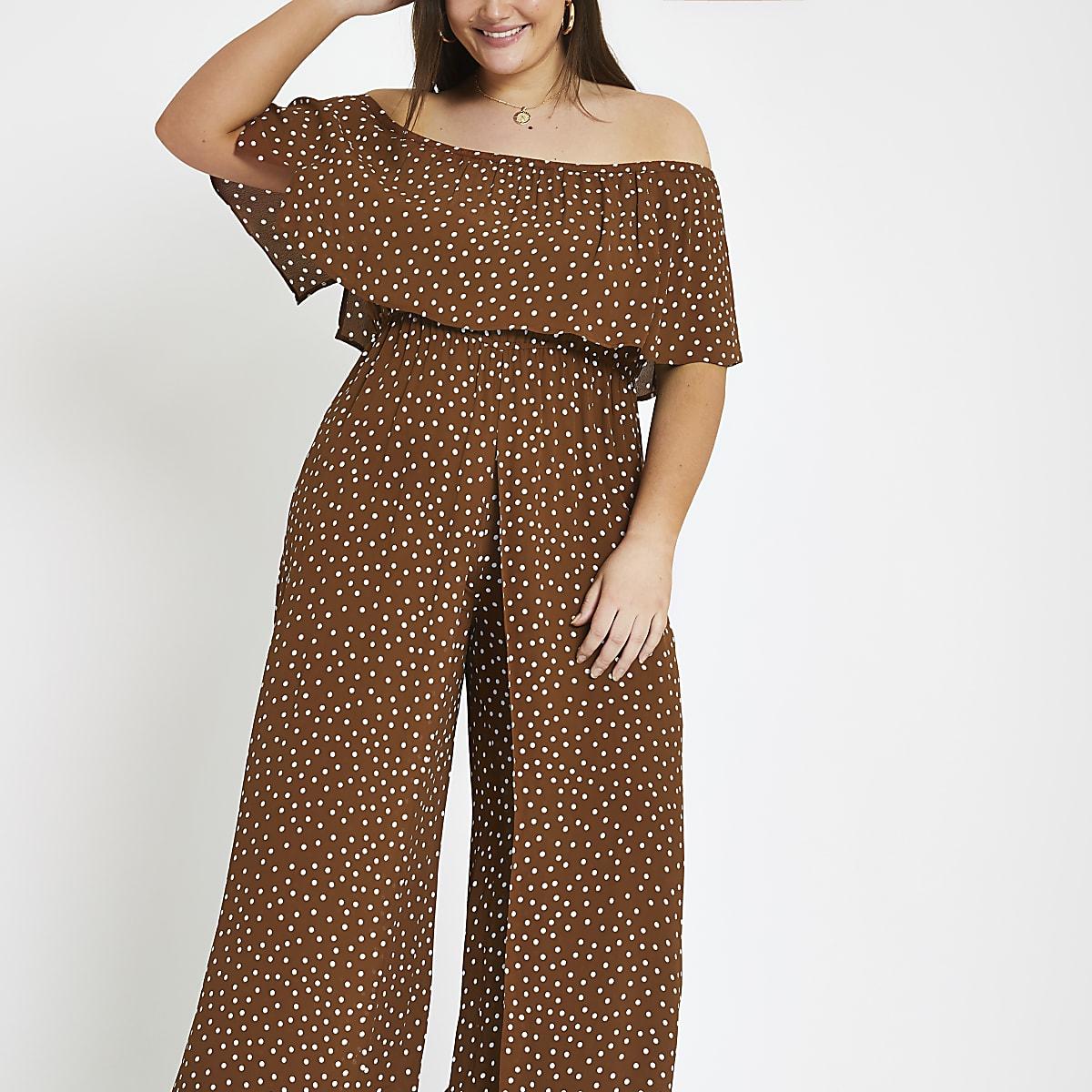 Plus brown spot bardot jumpsuit
