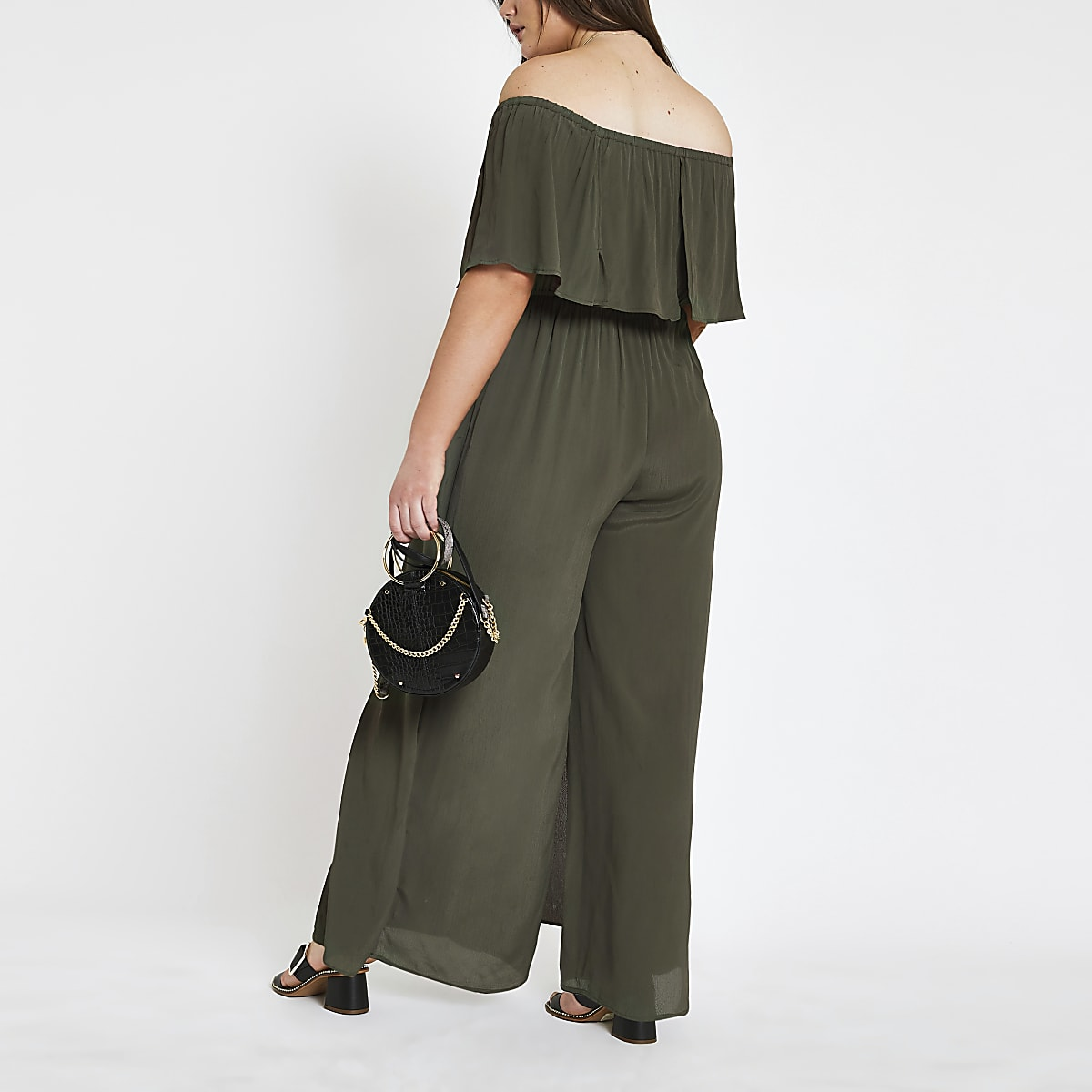 f58bb24f74 Plus khaki bardot jumpsuit - Race Day Dresses & Outfits - women