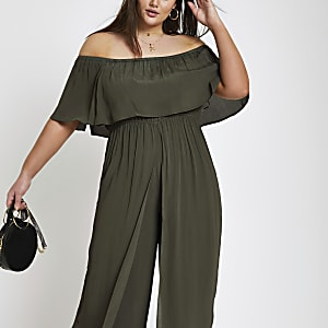 Plus khaki bardot jumpsuit